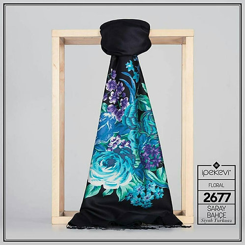 Floral Collection-2677-Siyah/Turkuaz