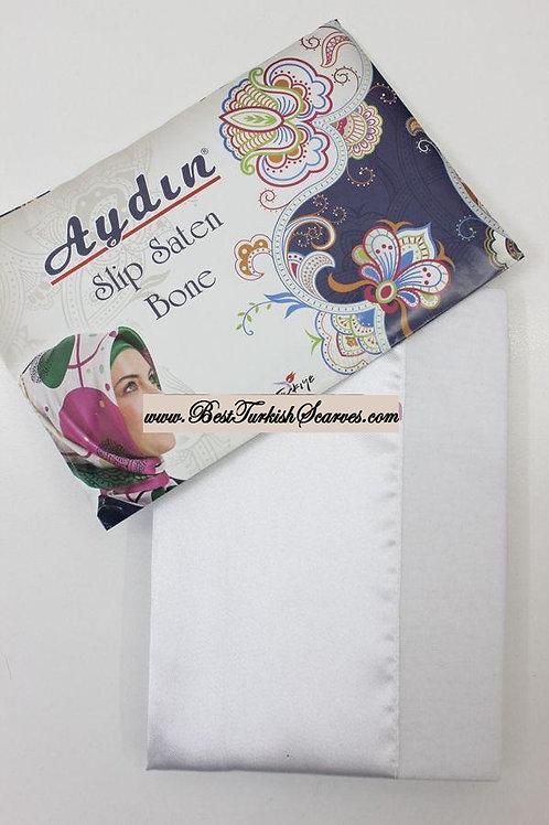 Slip Satin bonnet/hijab cap (underside is cotton)-White