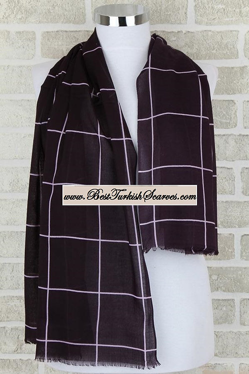 Indoroma checker cotton shawl/hijab-Dark plum