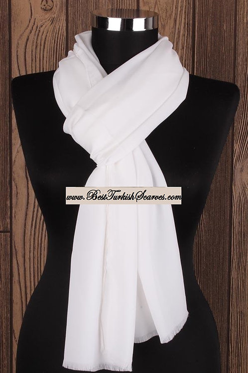 Lux Crepe Shawl/Scarf/Neck Wrap-White
