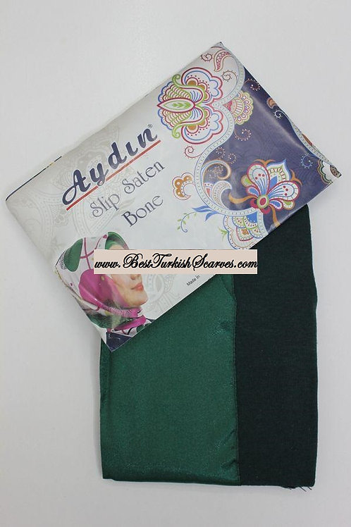 Slip Satin bonnet/hijab cap (underside is cotton)-Emerald