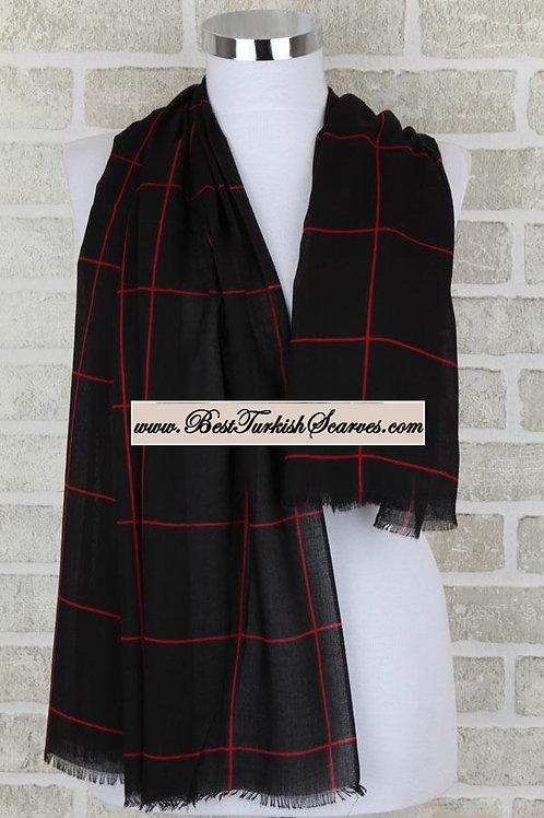 Indoroma checker cotton shawl/hijab-Black