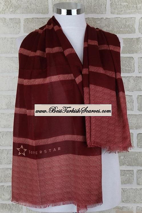 Super star striped shawl/hijab/scarf - Burgundy
