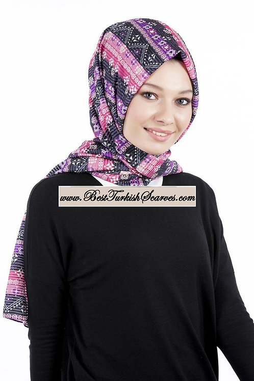 Isra Pleated Hijab/Shawl/Scarf-Ethnic Design 1