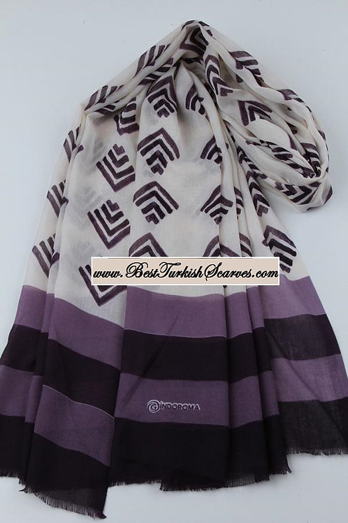 Indoroma motif design shawl/hijab/scarf- Model 1 (purple)