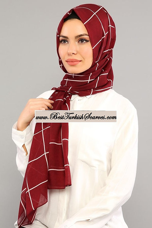 Isra checker cotton shawl/hijab-Burgundy 2