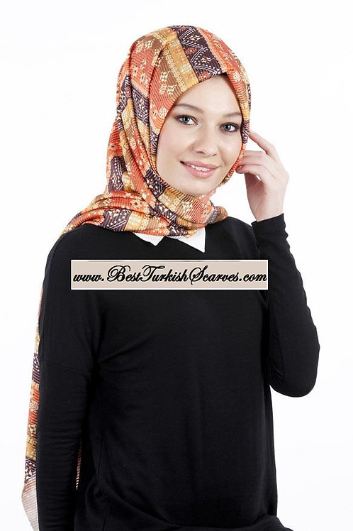 Isra Pleated Hijab/Shawl/Scarf-Ethnic Design 4