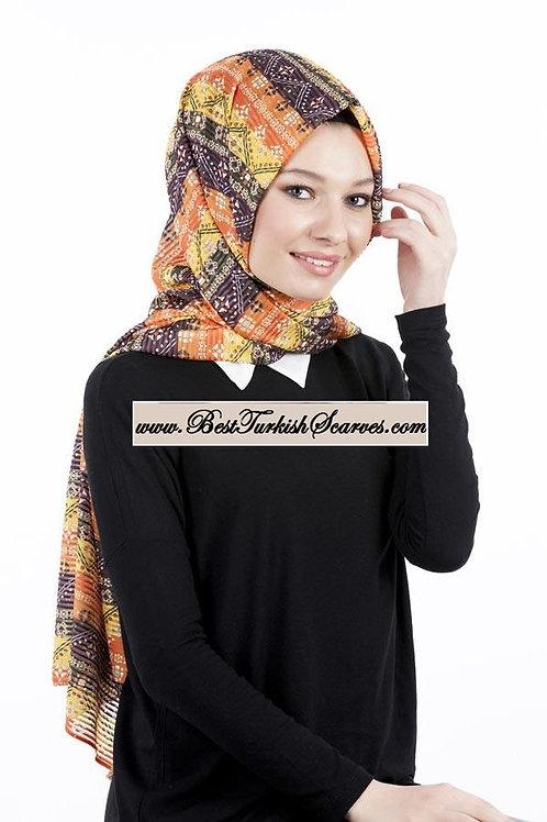 Isra Pleated Hijab/Shawl/Scarf-Ethnic Design 3