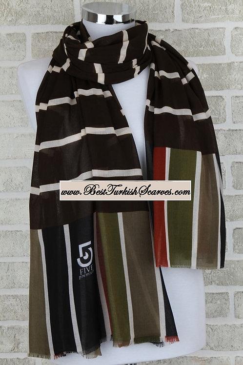 Five 5 geometric shawl/hijab-Dark green