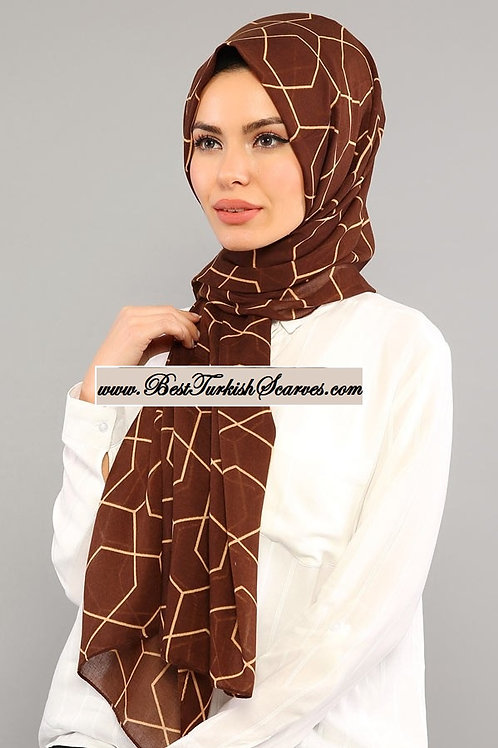 Isra honeycomb design cotton shawl/hijab-Brown