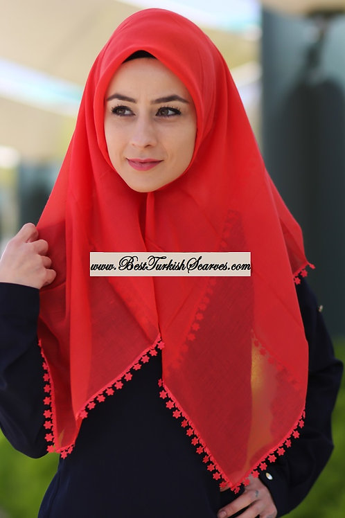 Floral lace cotton hijab/scarf (Traditional Turkish Yemeni-Tulbent)-Red