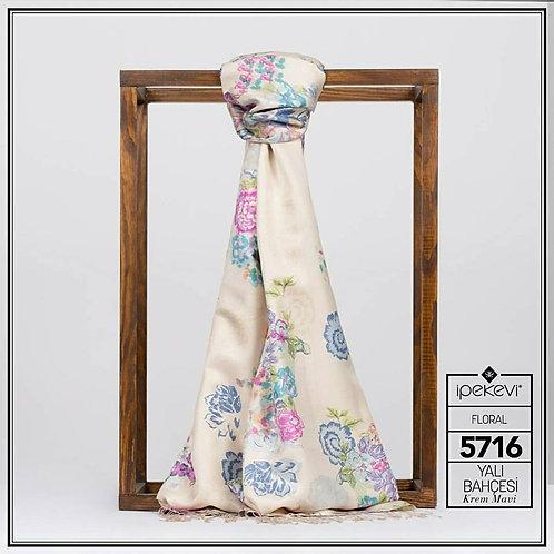 Floral Collection- 5716-Yali Bahcesi/Krem-Mavi