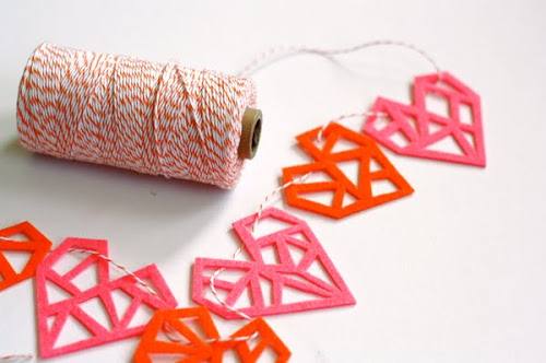 Felt Geometric Heart Garland
