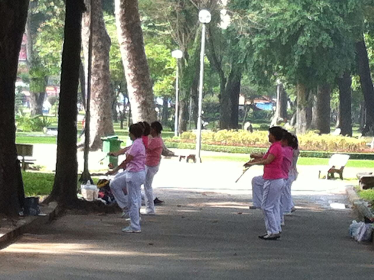 Morning exercise in the park