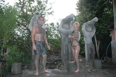 rinsing off our mud bath in Costa Rica