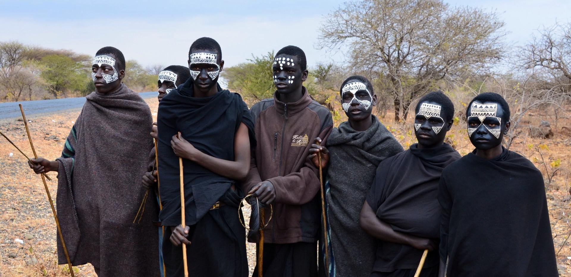 Teenage Masai boys dressed for circumcision ceremony