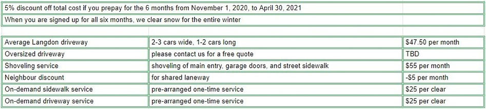 pricing for Langdon 2020-2021