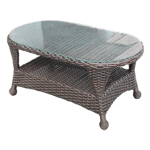 Woven Coffee Table w/ Glass