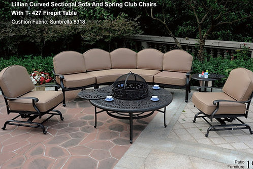 Lillian Firepit Seating Group (Lillian Curved Sofa/Sectional Chairs/Spring