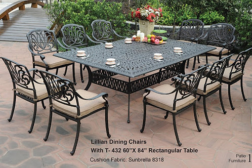 """Lillian Dining Set (10 Dining Chairs w/ Cushions + 60"""" x 84"""" Rec Dining Table)"""