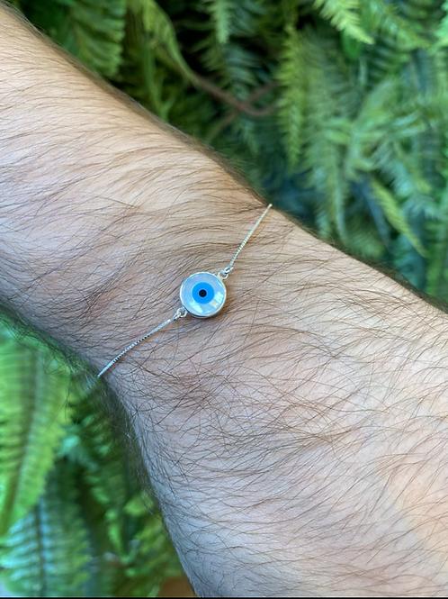 Pulseira Prata Mandala Petit Olho Grego Madreperola