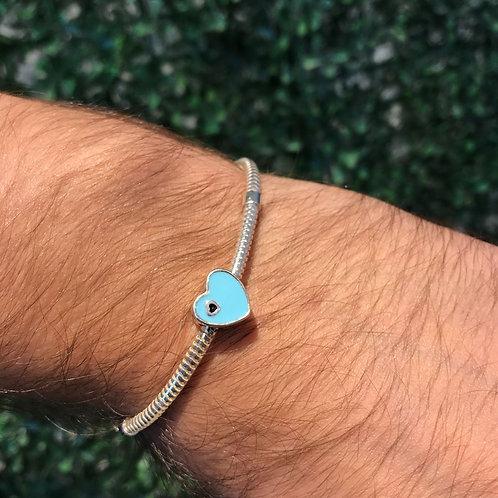Berloque de Prata Coração Azul