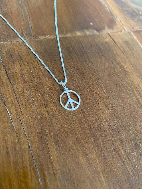Colar Prata Peace and Love