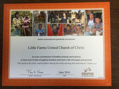 A certificate from Heifer International to Little Farms United Church of Christ