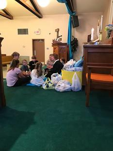 Children and Rev. Lassalle during Children's message.