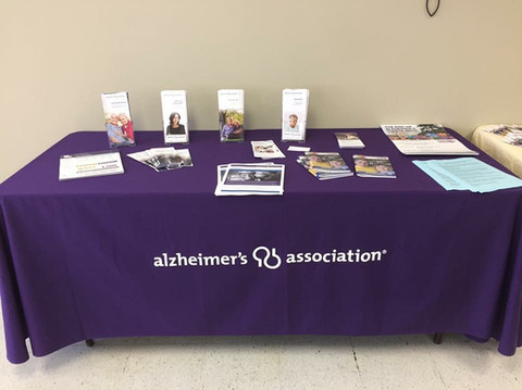 Alzheimer's Association informatioin table. LFUCC hosts community education sessions.