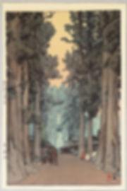 Cryptomeria Avenue (Sugi Namiki)by Hiroshi Yoshida (woodblock print, 1937).