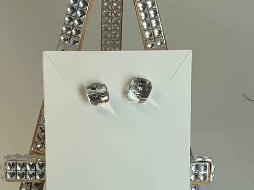 White Silver Fire Tiny Earrings