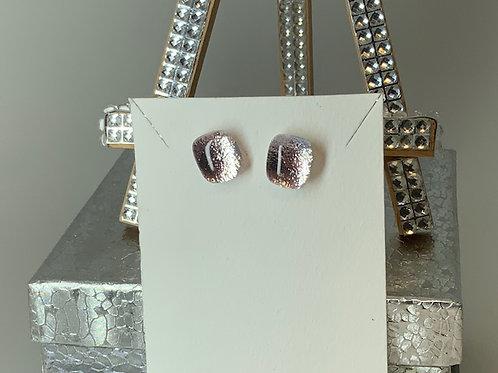 Champagne Pink Silver Stud Earrings