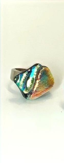Green Gold Rippled Ring