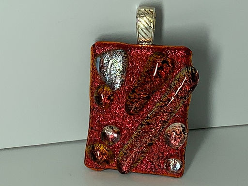 Wine Red with Gold Silver Pendant