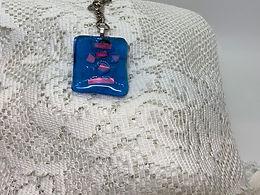 Skull Blue Glass Tiki Head Keychain