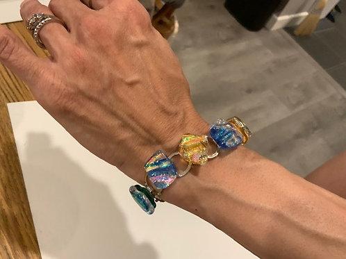 Rainbow Glass Tiki Chain Bracelets