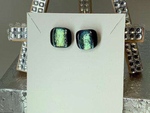 Gold Dichroic Glass Under Green Earrings