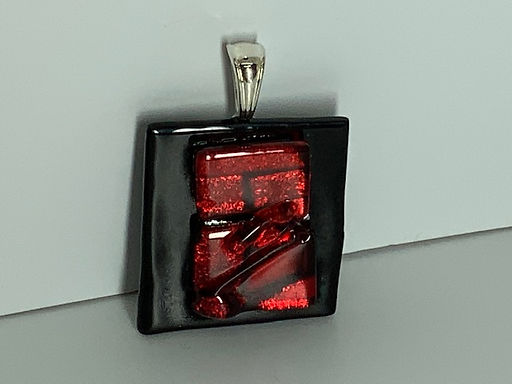 Ruby Red on Black Pendant
