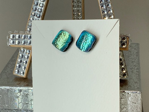 Red Head Lovers Blue and Green Earrings