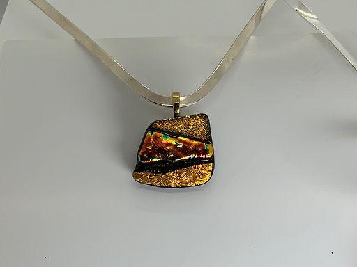 Fire Copper on Gold Pendant