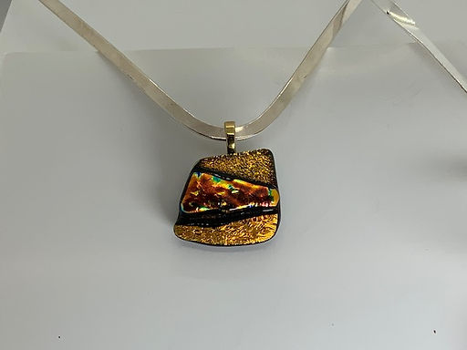 Fire Copper on Gold Pendant