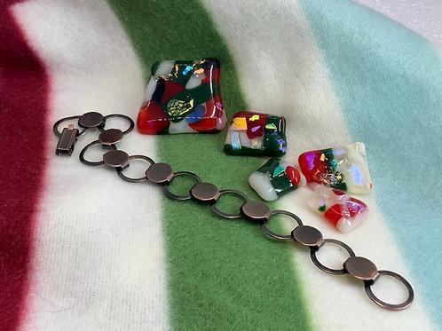 Fiesta Glass on Copper Bracelet
