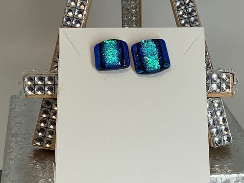 Royal and Baby Blue Dichroic Earrings
