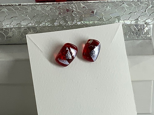 White Silver on Ruby Tiny Studs