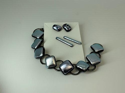 Silver bracelet & earrings Set II