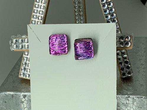 Pink Purple Crinkle Dichroic Earrings