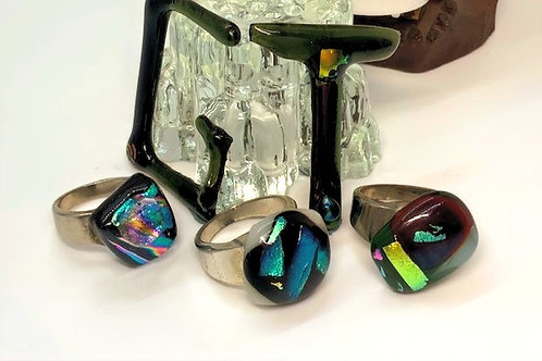 Glass Tiki Jewelry Trio Ring Set