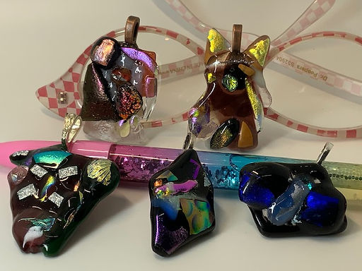 Glass Tiki Jewelry Statement Pendants!