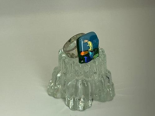 Opal Dichroic Gold Ring